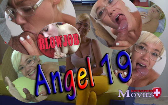 Model Angel 19 at the blowjob casting on porn